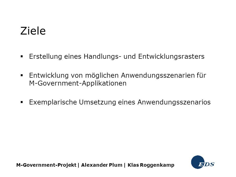 Ziele Erstellung eines Handlungs- und Entwicklungsrasters Entwicklung von möglichen Anwendungsszenarien für M-Government-Applikationen Exemplarische U