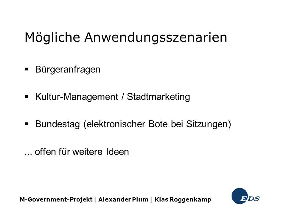 Mögliche Anwendungsszenarien Bürgeranfragen Kultur-Management / Stadtmarketing Bundestag (elektronischer Bote bei Sitzungen)... offen für weitere Idee