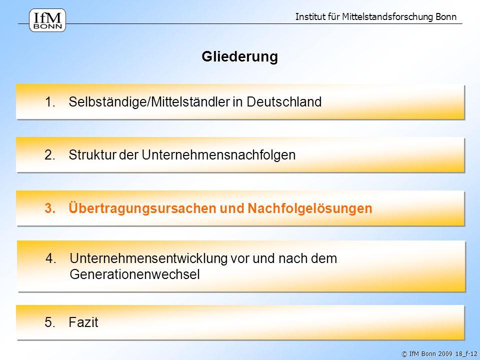 Institut für Mittelstandsforschung Bonn © IfM Bonn 2009 18_f-12 Gliederung 1.Selbständige/Mittelständler in Deutschland 2.Struktur der Unternehmensnac