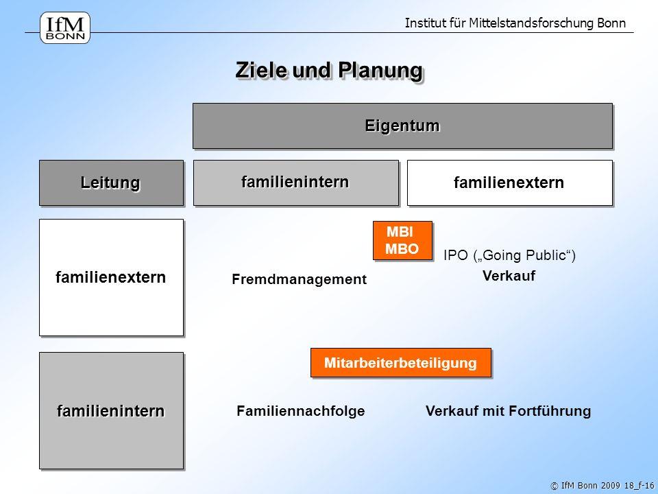Institut für Mittelstandsforschung Bonn © IfM Bonn 2009 18_f-16 Ziele und Planung familienintern familienextern familienintern familienexternLeitung E