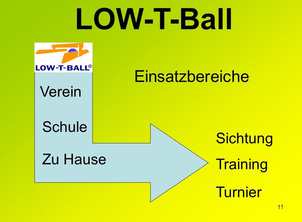 11 Training Turnier Sichtung Zu Hause Verein Schule LOW-T-Ball Einsatzbereiche