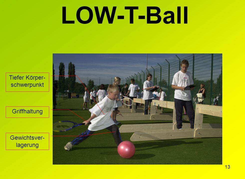 13 LOW-T-Ball Griffhaltung Tiefer Körper- schwerpunkt Gewichtsver- lagerung