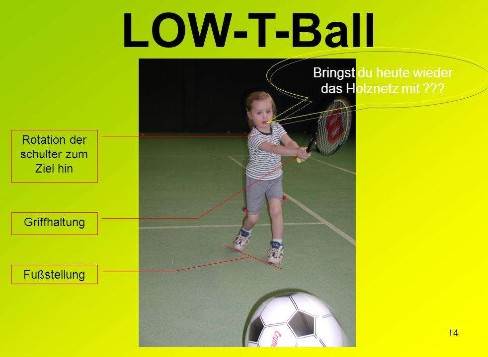 14 LOW-T-Ball Griffhaltung Rotation der schulter zum Ziel hin Fußstellung Bringst du heute wieder das Holznetz mit ???