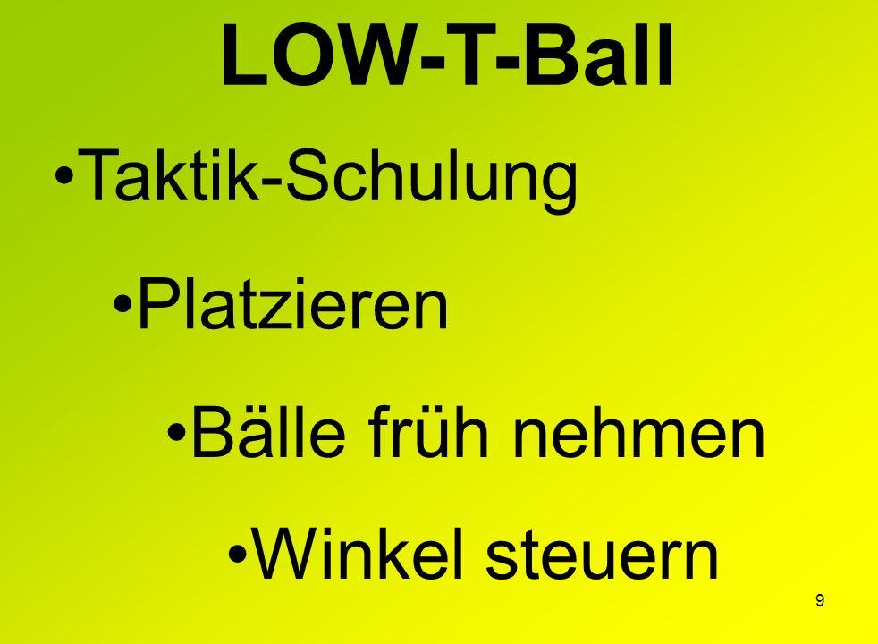 9 LOW-T-Ball Taktik-Schulung Platzieren Bälle früh nehmen Winkel steuern