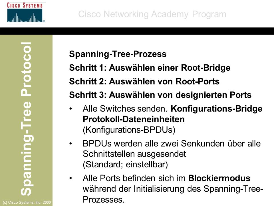 Spanning-Tree Protocol Cisco Networking Academy Program (c) Cisco Systems, Inc. 2000 Spanning-Tree-Prozess Schritt 1: Auswählen einer Root-Bridge Schr