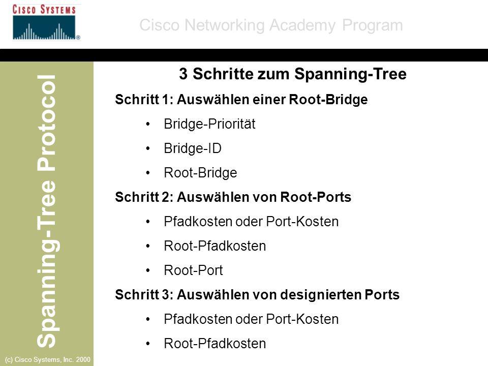 Spanning-Tree Protocol Cisco Networking Academy Program (c) Cisco Systems, Inc. 2000 3 Schritte zum Spanning-Tree Schritt 1: Auswählen einer Root-Brid