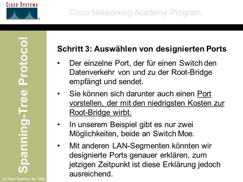 Spanning-Tree Protocol Cisco Networking Academy Program (c) Cisco Systems, Inc. 2000 Schritt 3: Auswählen von designierten Ports Der einzelne Port, de