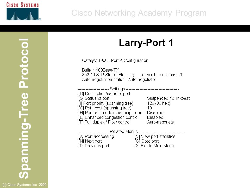 Spanning-Tree Protocol Cisco Networking Academy Program (c) Cisco Systems, Inc. 2000 Larry-Port 1