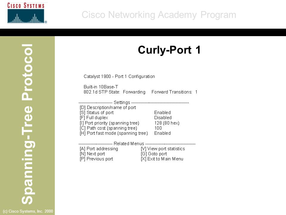 Spanning-Tree Protocol Cisco Networking Academy Program (c) Cisco Systems, Inc. 2000 Curly-Port 1
