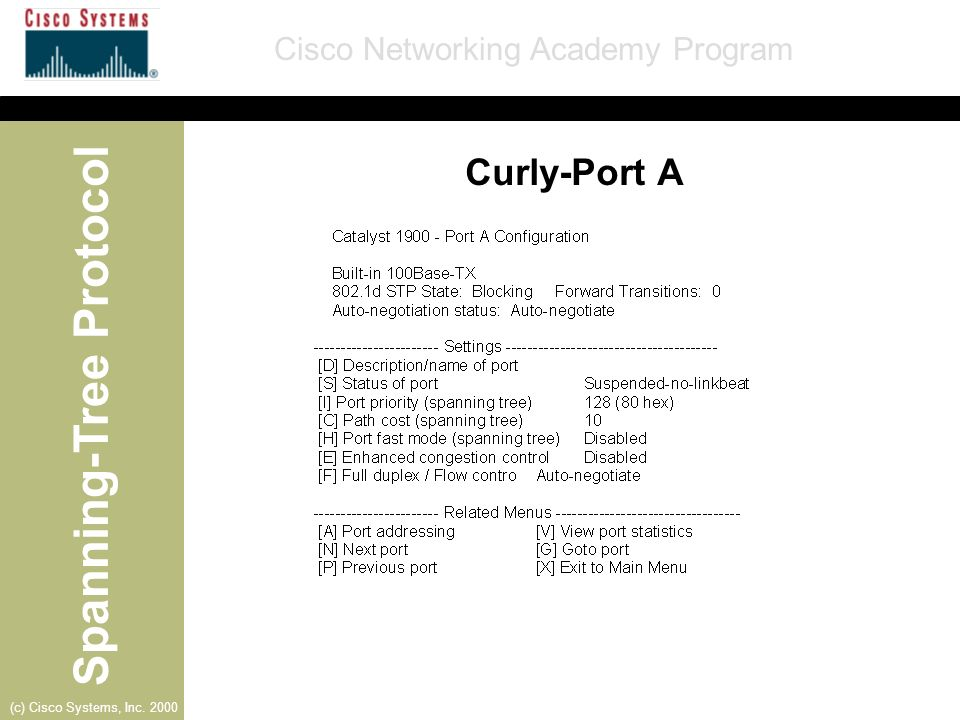 Spanning-Tree Protocol Cisco Networking Academy Program (c) Cisco Systems, Inc. 2000 Curly-Port A