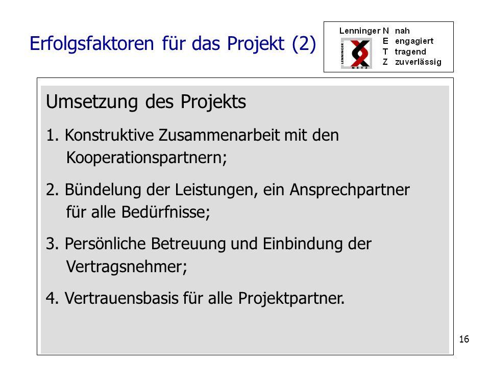 16 Umsetzung des Projekts 1. Konstruktive Zusammenarbeit mit den Kooperationspartnern; 2. Bündelung der Leistungen, ein Ansprechpartner für alle Bedür