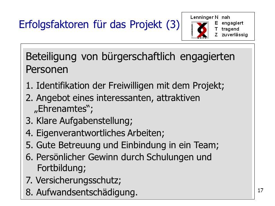 17 Beteiligung von bürgerschaftlich engagierten Personen 1. Identifikation der Freiwilligen mit dem Projekt; 2. Angebot eines interessanten, attraktiv