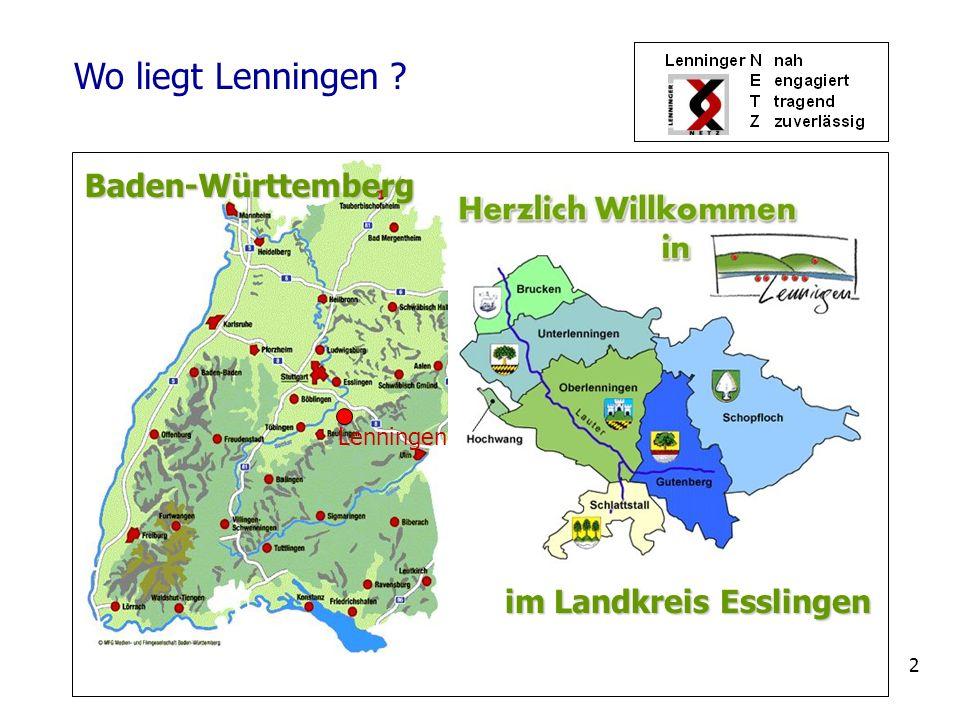 3 Daten zu Lenningen 1.Entstanden 1.1.1975 durch Kommunalreform 2.7 Ortsteile mit ca.