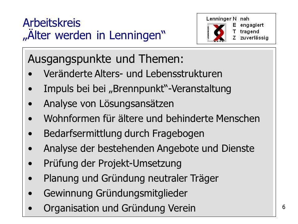 7 1.Name des Vereins: Lenninger NETZ – Verein zur Koordination sozialer Aufgaben in Lenningen e.V.