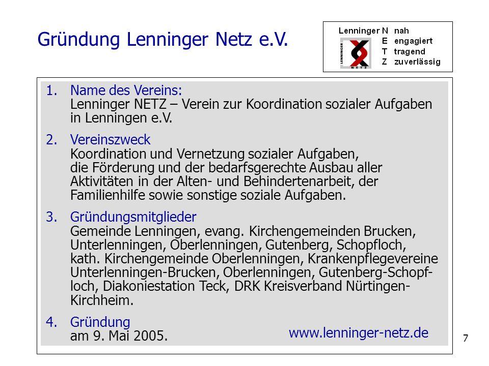 7 1.Name des Vereins: Lenninger NETZ – Verein zur Koordination sozialer Aufgaben in Lenningen e.V. 2.Vereinszweck Koordination und Vernetzung sozialer