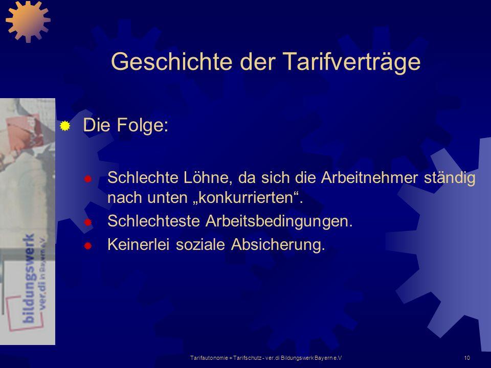Tarifautonomie + Tarifschutz - ver.di Bildungswerk Bayern e.V10 Geschichte der Tarifverträge Die Folge: Schlechte Löhne, da sich die Arbeitnehmer stän