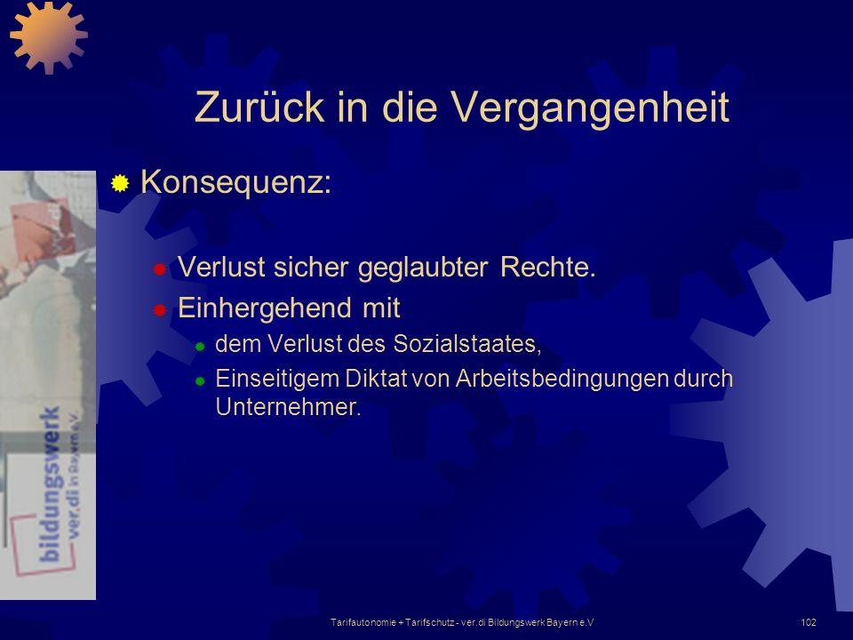 Tarifautonomie + Tarifschutz - ver.di Bildungswerk Bayern e.V102 Zurück in die Vergangenheit Konsequenz: Verlust sicher geglaubter Rechte. Einhergehen