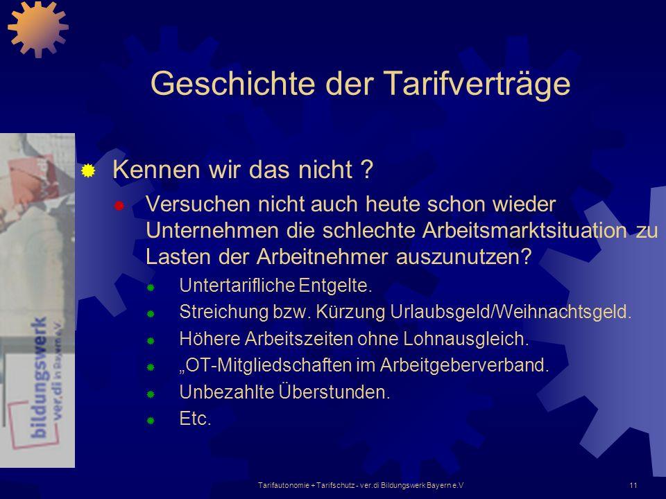 Tarifautonomie + Tarifschutz - ver.di Bildungswerk Bayern e.V11 Geschichte der Tarifverträge Kennen wir das nicht ? Versuchen nicht auch heute schon w