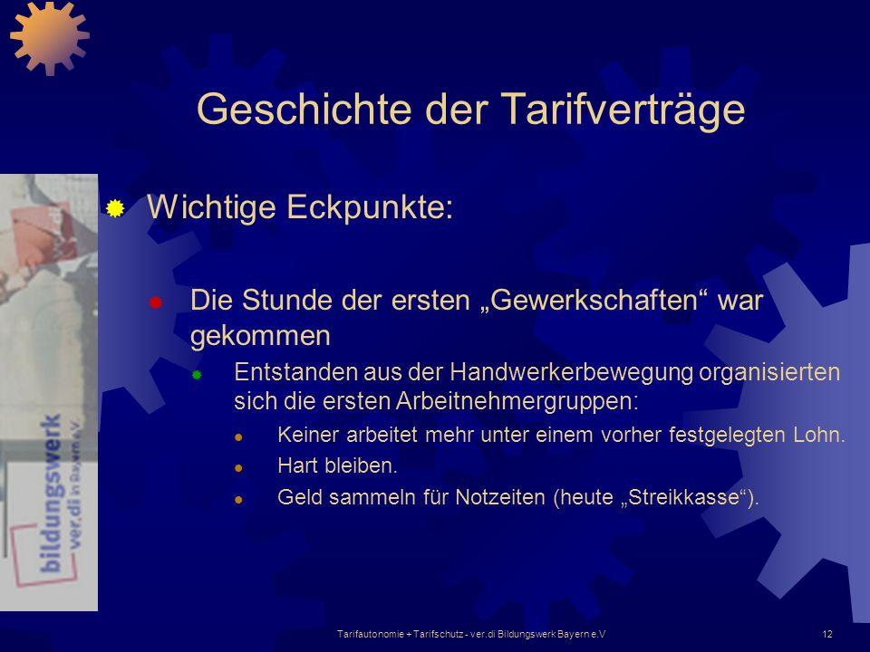 Tarifautonomie + Tarifschutz - ver.di Bildungswerk Bayern e.V12 Geschichte der Tarifverträge Wichtige Eckpunkte: Die Stunde der ersten Gewerkschaften