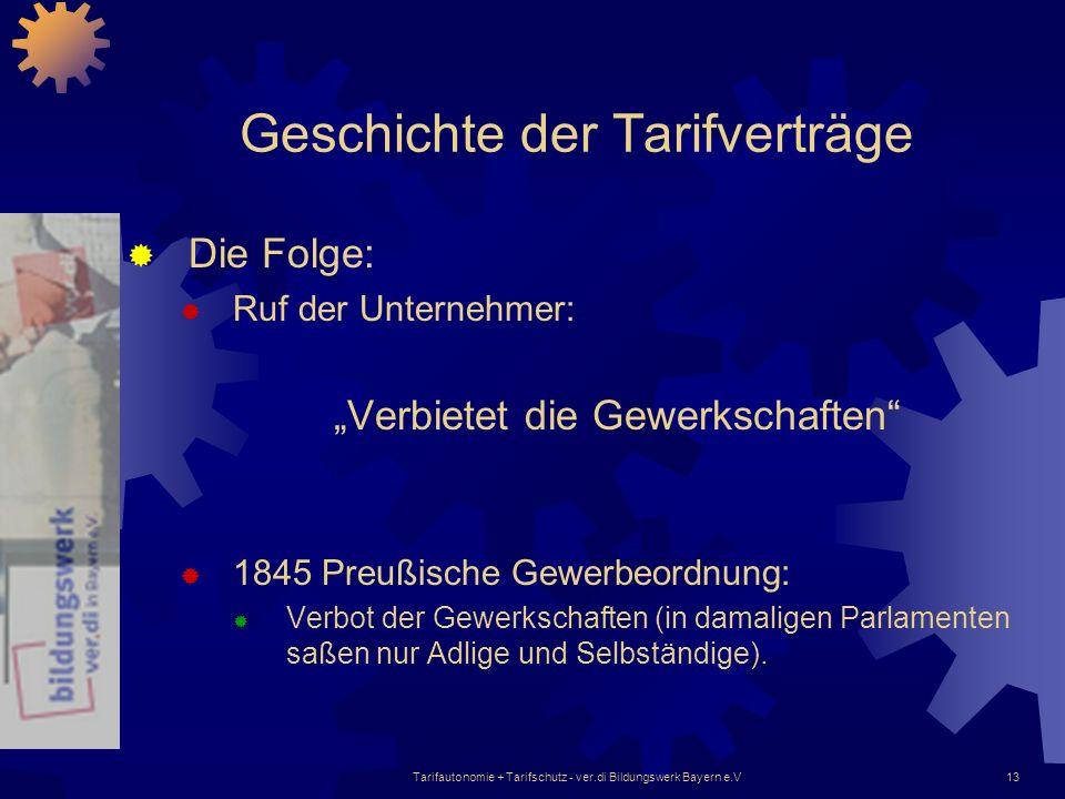 Tarifautonomie + Tarifschutz - ver.di Bildungswerk Bayern e.V13 Geschichte der Tarifverträge Die Folge: Ruf der Unternehmer: Verbietet die Gewerkschaf