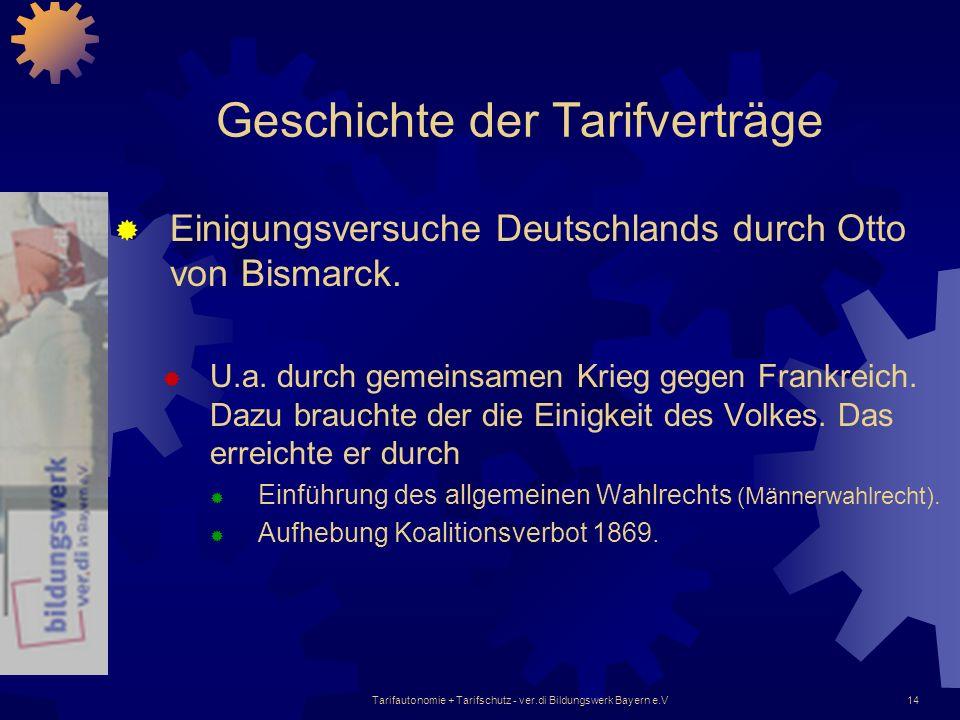 Tarifautonomie + Tarifschutz - ver.di Bildungswerk Bayern e.V14 Geschichte der Tarifverträge Einigungsversuche Deutschlands durch Otto von Bismarck. U