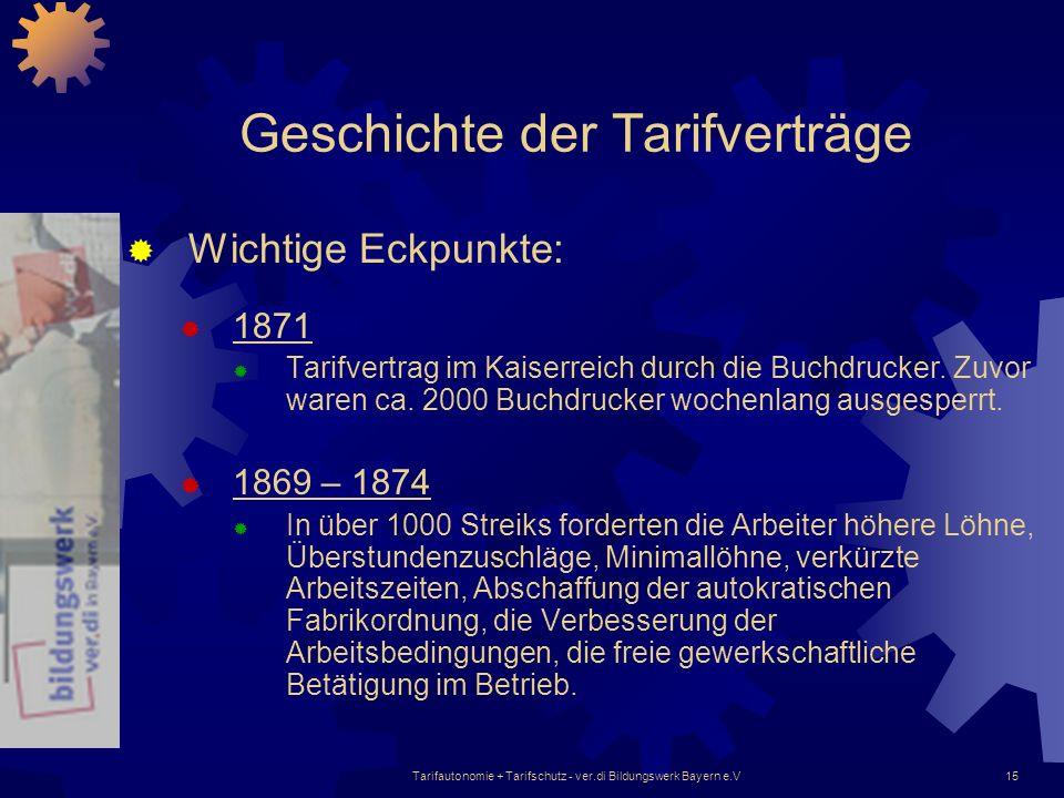 Tarifautonomie + Tarifschutz - ver.di Bildungswerk Bayern e.V15 Geschichte der Tarifverträge Wichtige Eckpunkte: 1871 Tarifvertrag im Kaiserreich durc