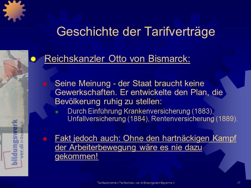 Tarifautonomie + Tarifschutz - ver.di Bildungswerk Bayern e.V17 Geschichte der Tarifverträge Reichskanzler Otto von Bismarck: Seine Meinung - der Staa