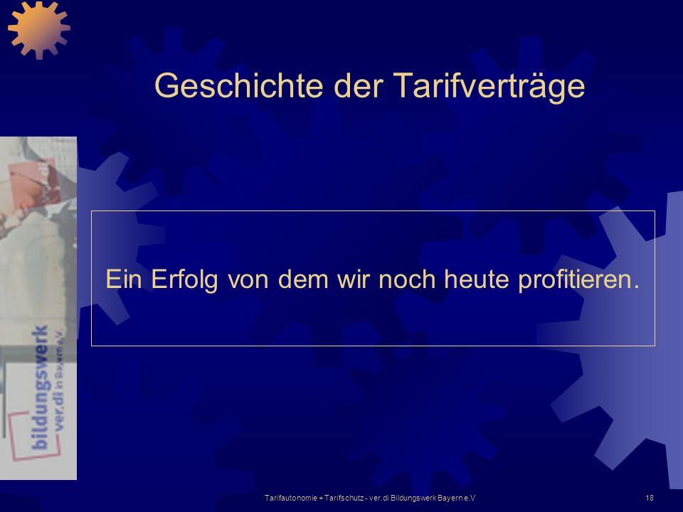 Tarifautonomie + Tarifschutz - ver.di Bildungswerk Bayern e.V18 Geschichte der Tarifverträge Ein Erfolg von dem wir noch heute profitieren.