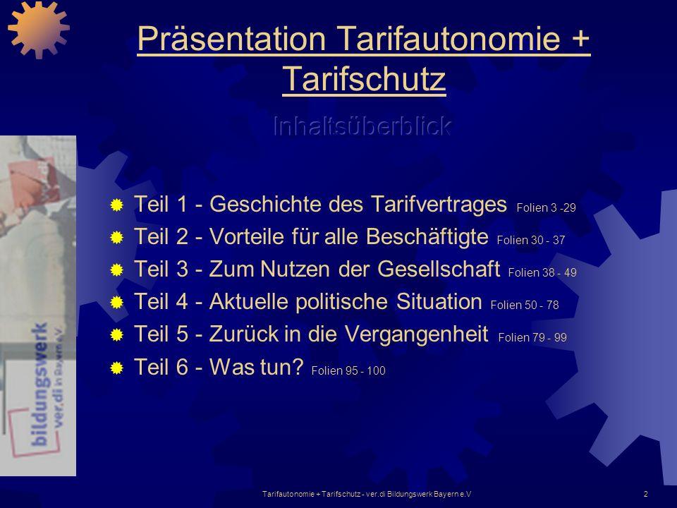 2 Präsentation Tarifautonomie + Tarifschutz Teil 1 - Geschichte des Tarifvertrages Folien 3 -29 Teil 2 - Vorteile für alle Beschäftigte Folien 30 - 37