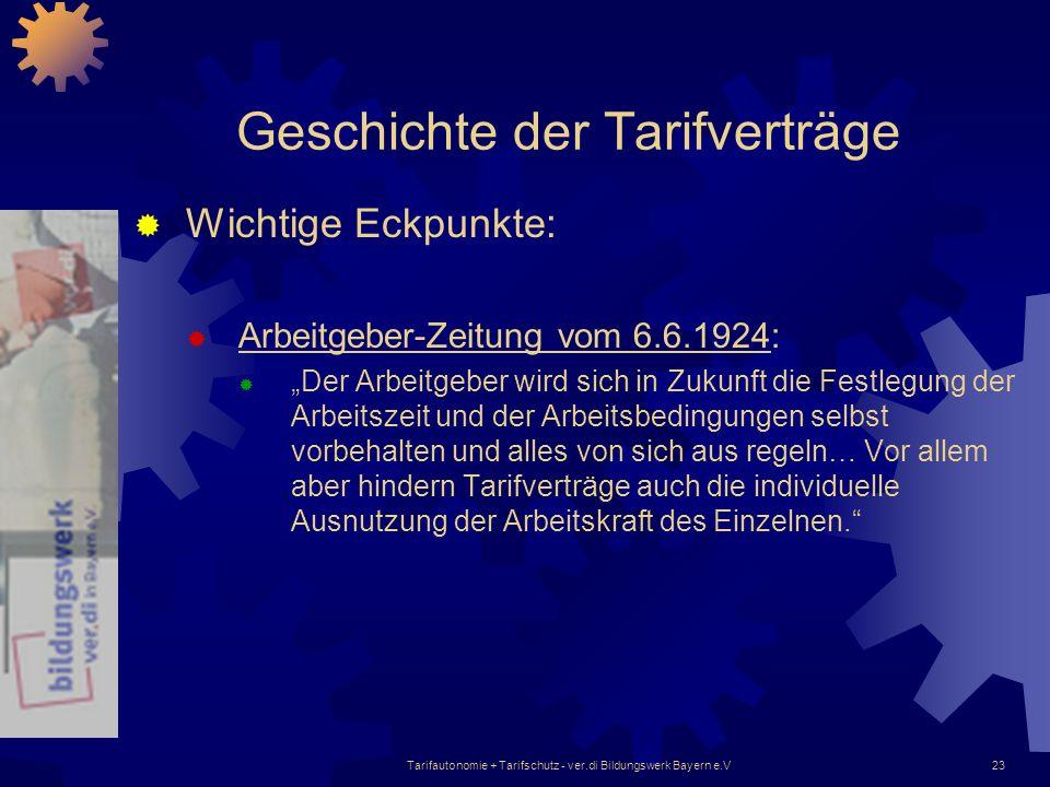 Tarifautonomie + Tarifschutz - ver.di Bildungswerk Bayern e.V23 Geschichte der Tarifverträge Wichtige Eckpunkte: Arbeitgeber-Zeitung vom 6.6.1924: Der