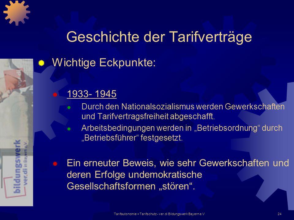 Tarifautonomie + Tarifschutz - ver.di Bildungswerk Bayern e.V24 Geschichte der Tarifverträge Wichtige Eckpunkte: 1933- 1945 Durch den Nationalsozialis