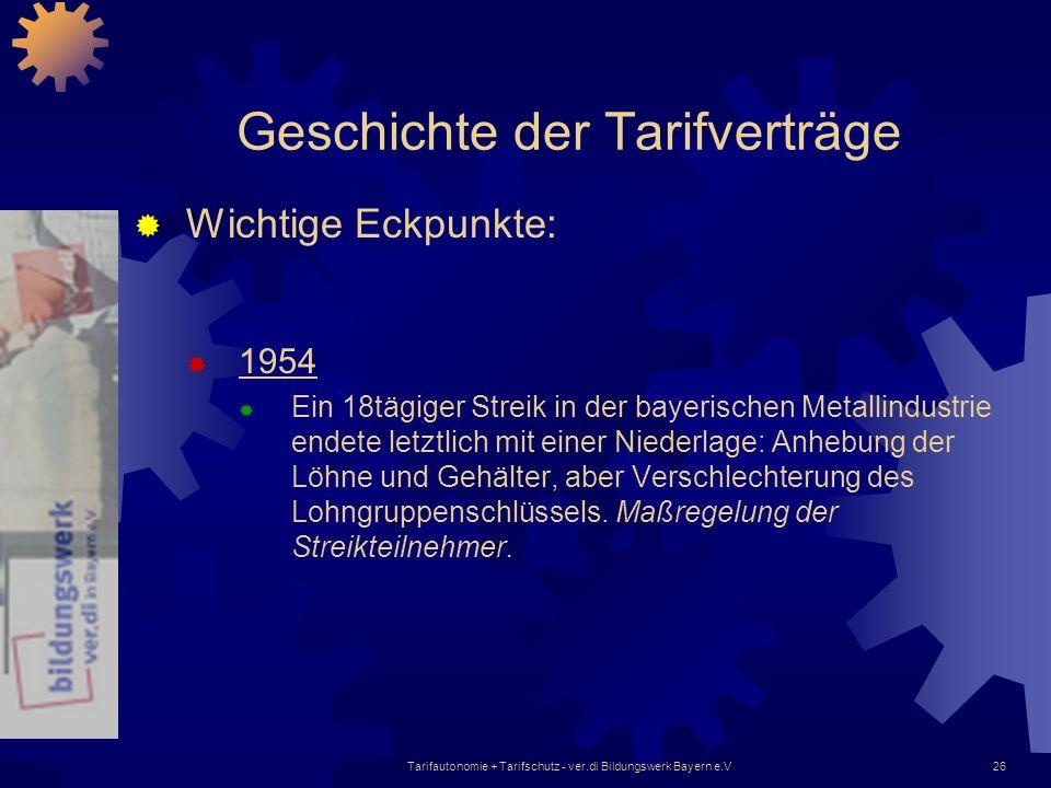 Tarifautonomie + Tarifschutz - ver.di Bildungswerk Bayern e.V26 Geschichte der Tarifverträge Wichtige Eckpunkte: 1954 Ein 18tägiger Streik in der baye