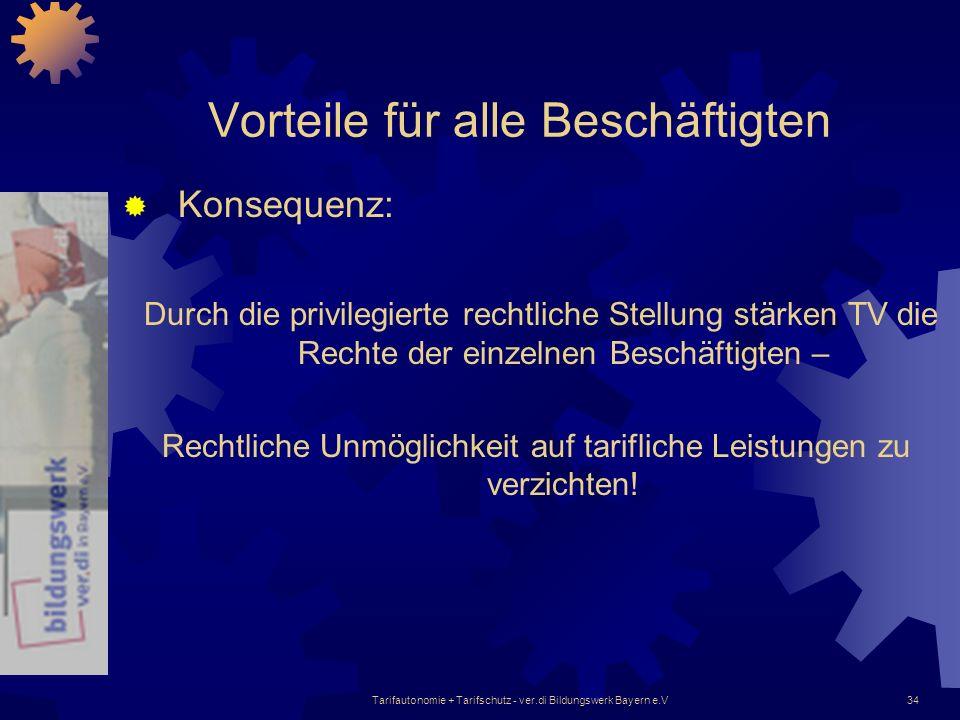 Tarifautonomie + Tarifschutz - ver.di Bildungswerk Bayern e.V34 Vorteile für alle Beschäftigten Konsequenz: Durch die privilegierte rechtliche Stellun