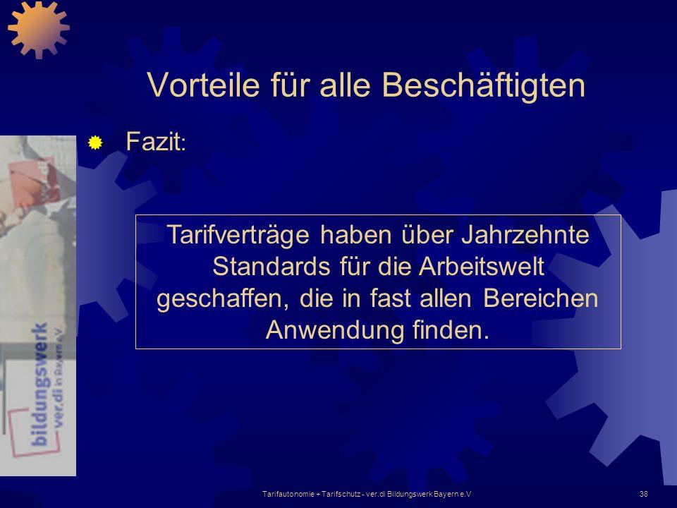 Tarifautonomie + Tarifschutz - ver.di Bildungswerk Bayern e.V38 Vorteile für alle Beschäftigten Fazit : Tarifverträge haben über Jahrzehnte Standards