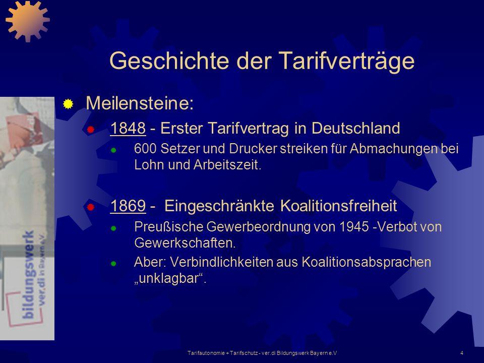 Tarifautonomie + Tarifschutz - ver.di Bildungswerk Bayern e.V4 Geschichte der Tarifverträge Meilensteine: 1848 - Erster Tarifvertrag in Deutschland 60