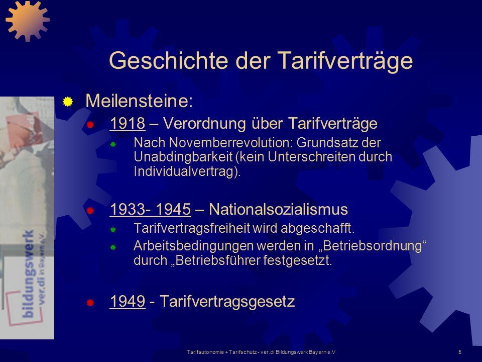 Tarifautonomie + Tarifschutz - ver.di Bildungswerk Bayern e.V5 Geschichte der Tarifverträge Meilensteine: 1918 – Verordnung über Tarifverträge Nach No