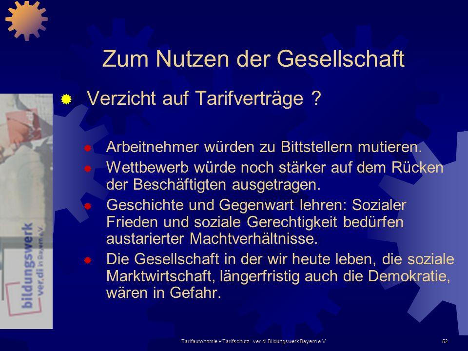 Tarifautonomie + Tarifschutz - ver.di Bildungswerk Bayern e.V52 Zum Nutzen der Gesellschaft Verzicht auf Tarifverträge ? Arbeitnehmer würden zu Bittst