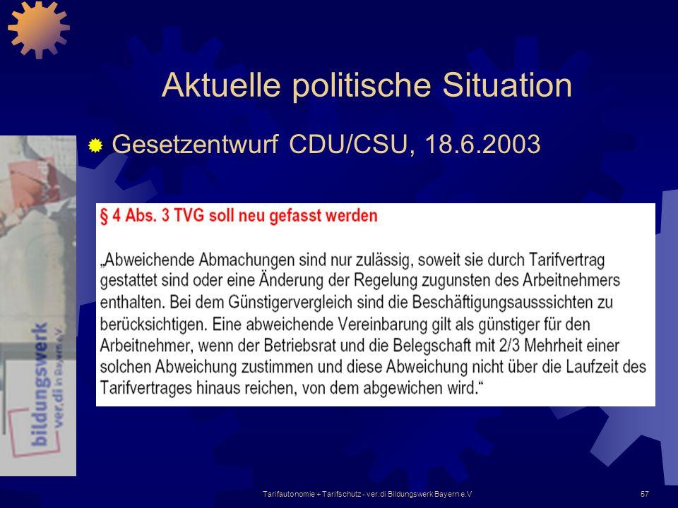 Tarifautonomie + Tarifschutz - ver.di Bildungswerk Bayern e.V57 Aktuelle politische Situation Gesetzentwurf CDU/CSU, 18.6.2003