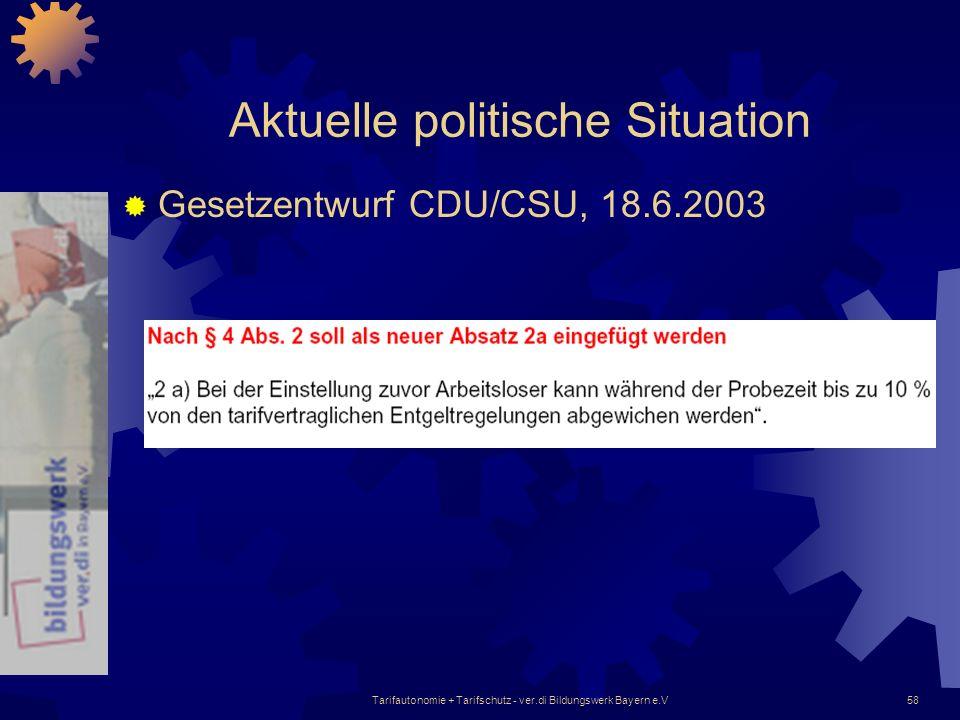 Tarifautonomie + Tarifschutz - ver.di Bildungswerk Bayern e.V58 Aktuelle politische Situation Gesetzentwurf CDU/CSU, 18.6.2003