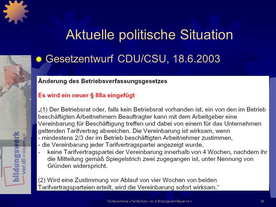Tarifautonomie + Tarifschutz - ver.di Bildungswerk Bayern e.V59 Aktuelle politische Situation Gesetzentwurf CDU/CSU, 18.6.2003