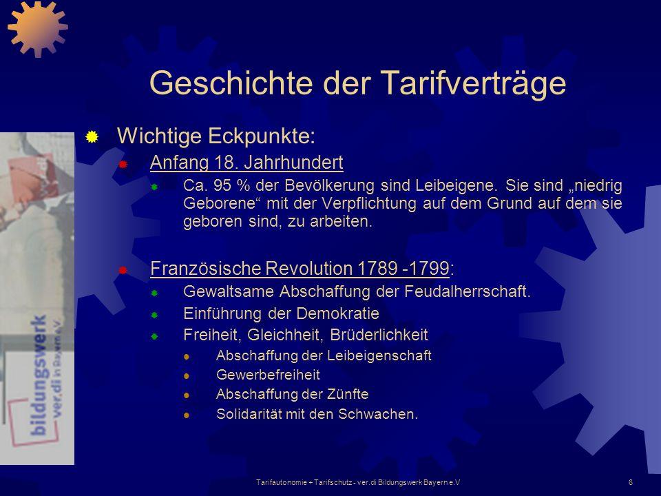 Tarifautonomie + Tarifschutz - ver.di Bildungswerk Bayern e.V6 Geschichte der Tarifverträge Wichtige Eckpunkte: Anfang 18. Jahrhundert Ca. 95 % der Be
