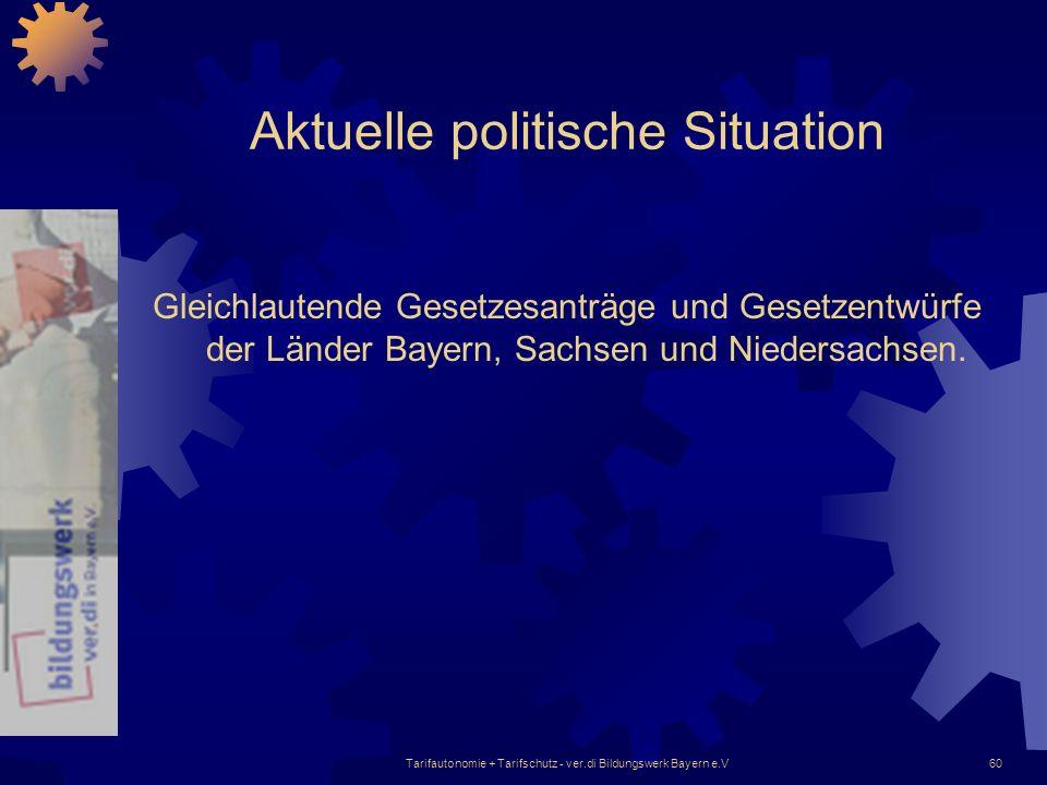 Tarifautonomie + Tarifschutz - ver.di Bildungswerk Bayern e.V60 Aktuelle politische Situation Gleichlautende Gesetzesanträge und Gesetzentwürfe der Lä