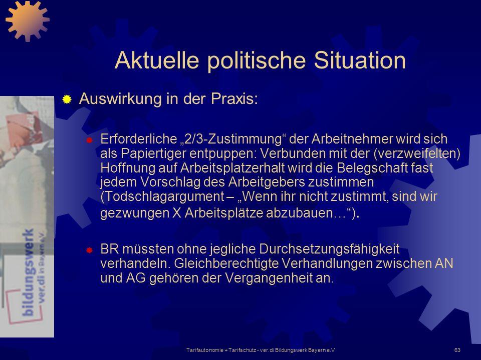 Tarifautonomie + Tarifschutz - ver.di Bildungswerk Bayern e.V63 Aktuelle politische Situation Auswirkung in der Praxis: Erforderliche 2/3-Zustimmung d