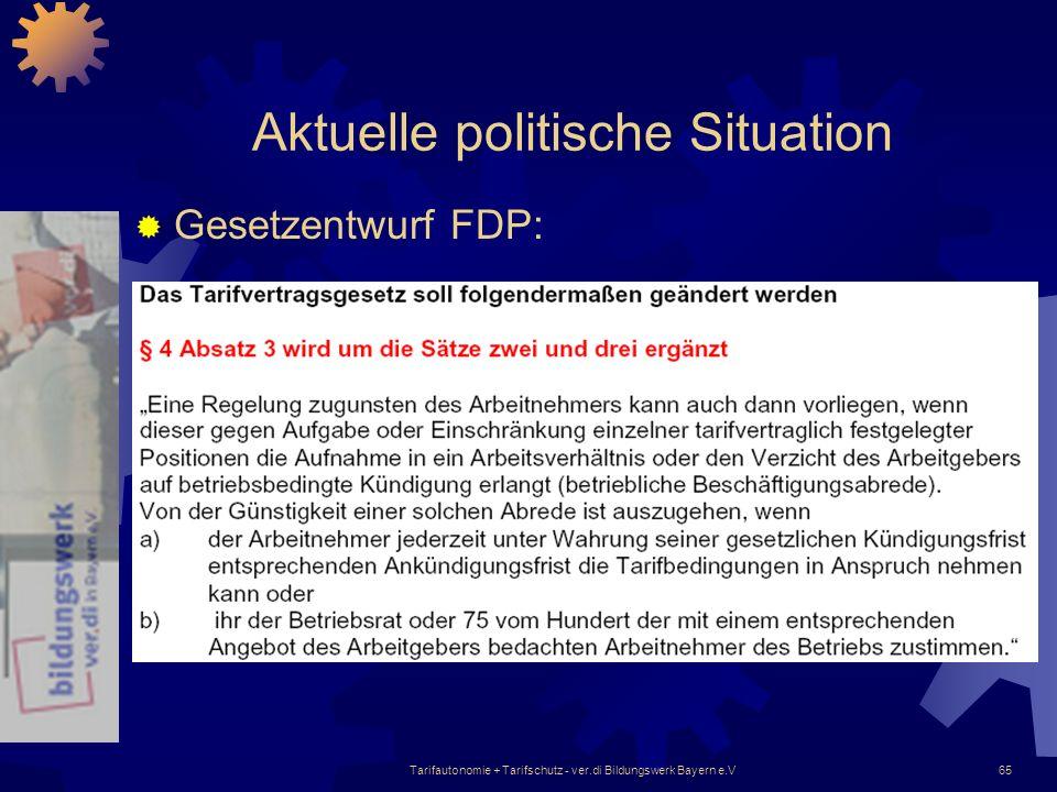 Tarifautonomie + Tarifschutz - ver.di Bildungswerk Bayern e.V65 Aktuelle politische Situation Gesetzentwurf FDP: