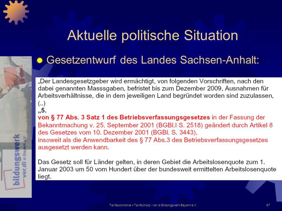 Tarifautonomie + Tarifschutz - ver.di Bildungswerk Bayern e.V67 Aktuelle politische Situation Gesetzentwurf des Landes Sachsen-Anhalt: