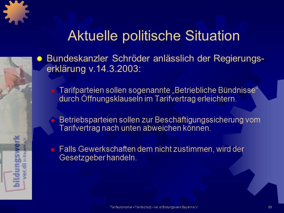 Tarifautonomie + Tarifschutz - ver.di Bildungswerk Bayern e.V69 Aktuelle politische Situation Bundeskanzler Schröder anlässlich der Regierungs- erklär