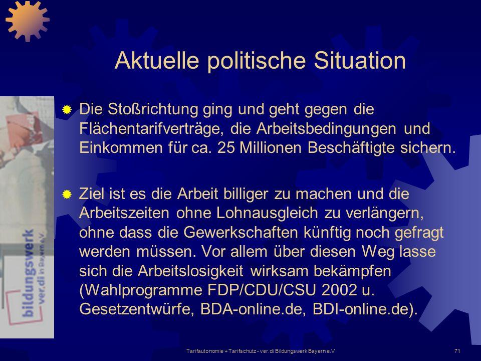 Tarifautonomie + Tarifschutz - ver.di Bildungswerk Bayern e.V71 Aktuelle politische Situation Die Stoßrichtung ging und geht gegen die Flächentarifver