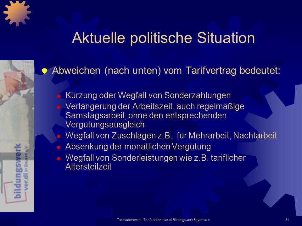 Tarifautonomie + Tarifschutz - ver.di Bildungswerk Bayern e.V84 Aktuelle politische Situation Abweichen (nach unten) vom Tarifvertrag bedeutet: Kürzun