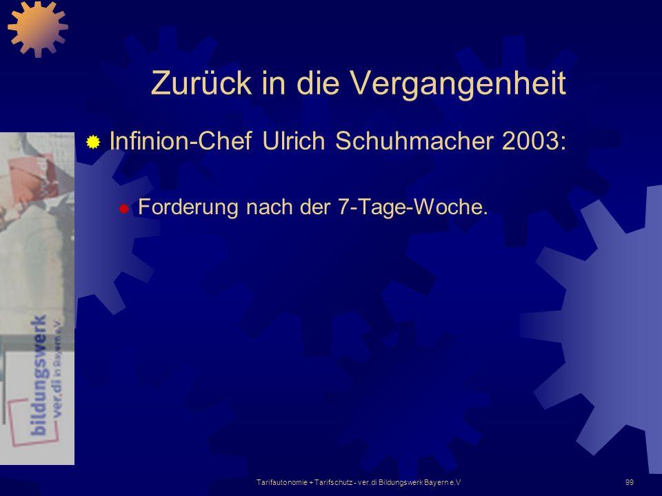 Tarifautonomie + Tarifschutz - ver.di Bildungswerk Bayern e.V99 Zurück in die Vergangenheit Infinion-Chef Ulrich Schuhmacher 2003: Forderung nach der