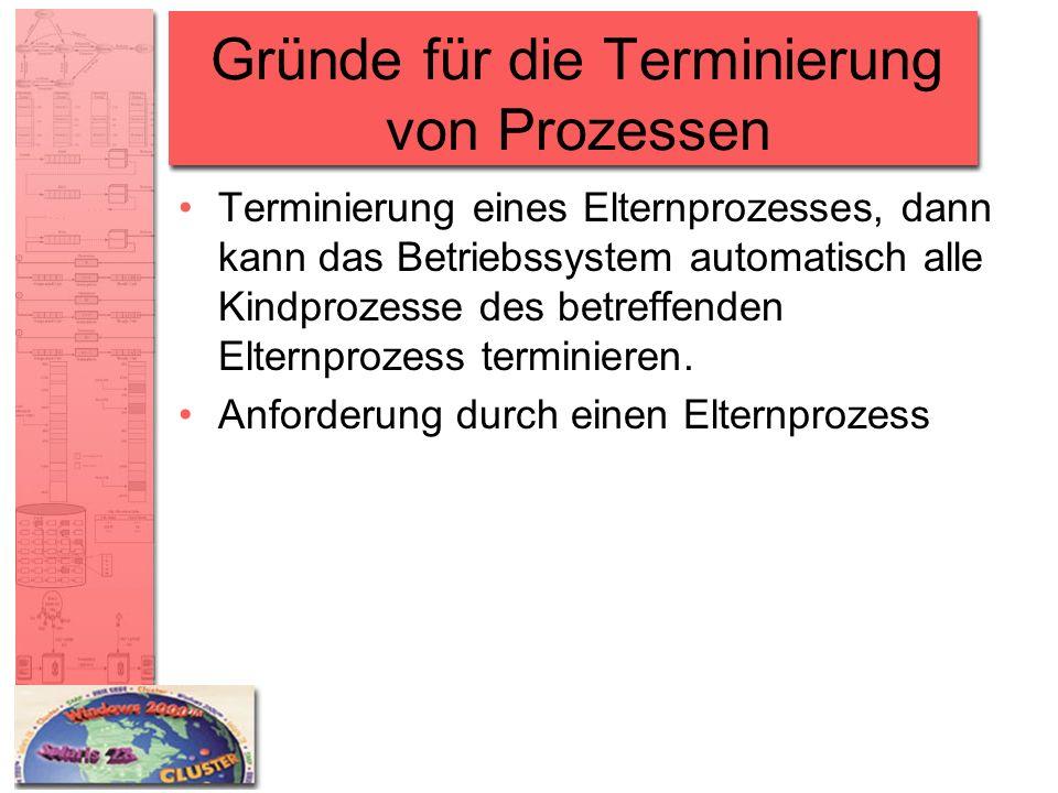 Gründe für die Terminierung von Prozessen Terminierung eines Elternprozesses, dann kann das Betriebssystem automatisch alle Kindprozesse des betreffen